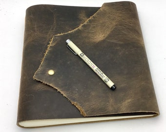 Large Leather Art Journal / Sketchbook, Distressed Brown - In Stock