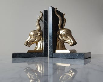 Solid Brass Ram Bookends Green Black Marble Base 1970's Hollywood Regency Decor Vintage Library Animal Bookend Set Mid Century Modern Decor