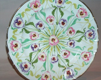 """p7578: Antique """"SAXE"""" Large 13"""" Charger Cabinet Plate Tray Hand Painted Violets Platter Scalloped  Gold Trim at Vintageway Furniture"""