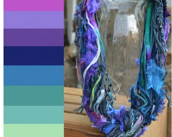 FIBER NECKLACE: King Fisher, Purple, Blue, Turquoise, Green, Soft, Jewelry, Accessories, Women