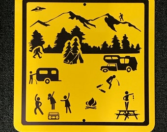 Adventures of Camping Stick Figure Camping Metal Sign