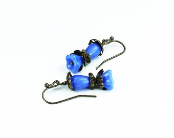 Modesto, Vintage Inspired Floral Earrings, Blue Czech Glass & Brass Filigree