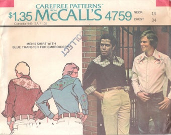 McCalls 4759 1970s Mens Western Shirt Pattern Embroidery Transfer Adult Teen Vintage Sewing Pattern Chest 34 OR Chest 38 Or Chest 40