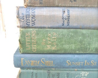 "Book Wall Art, Book Photography, Shabby Vintage Book Print, Antique Old Book Photo, Rustic Decor, Cottage Library Office Art- ""Stacked Gems"""