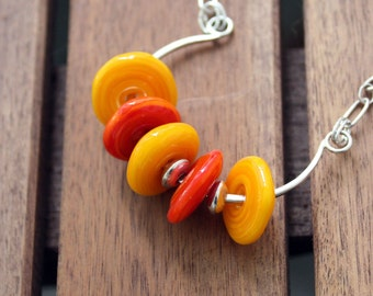 Bright Colors Lampwork Necklace  Orange and Gold Bold Modern Sterling Silver Necklace
