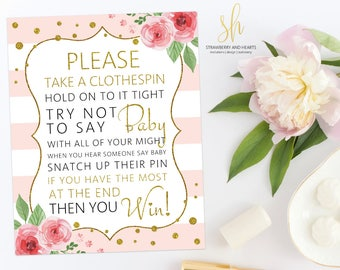 Floral Diaper Pin Game, Don't Say Baby, Pink Roses, Gold Confetti, Pink Stripes, Blush And Gold, Girl Baby Shower, Instant Download, SH23