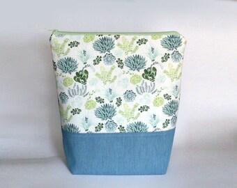 Medium Knitting Project Bag, Plants Project Bag, Crafter Project Bag, Sock Knitting Bag, Succulents Project Bag