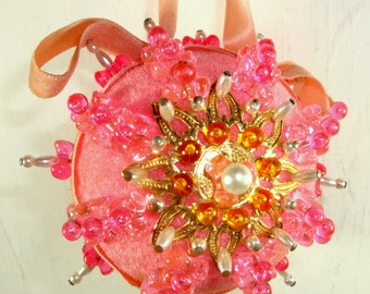 Beautiful Vintage Pink Christmas Ornament, Handcrafted, Beaded, Handmade Tree Ornament, Decoration, Cottage Chic, Retro 1970's (609-15)