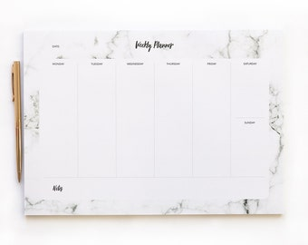 Weekly Planner Printable - Marble - A4 - Daily Planner - Instant Download