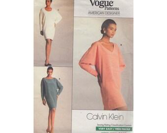 Very Easy Dolman Sleeve Dress Designer Calvin Klein Vogue 2055 1980s Sewing Pattern Wide V Neck/Boat Neck/Scoop U Neck Above Knee Size 6-14