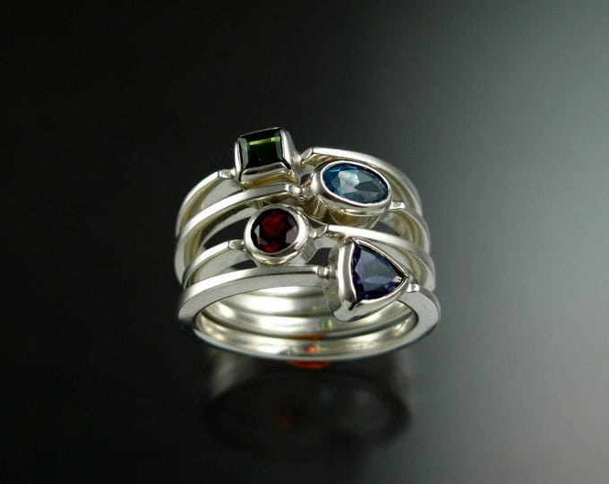 Stackable Mothers Birthstone ring set of Four 14k white Gold birthstone stacking rings Made to order in your size