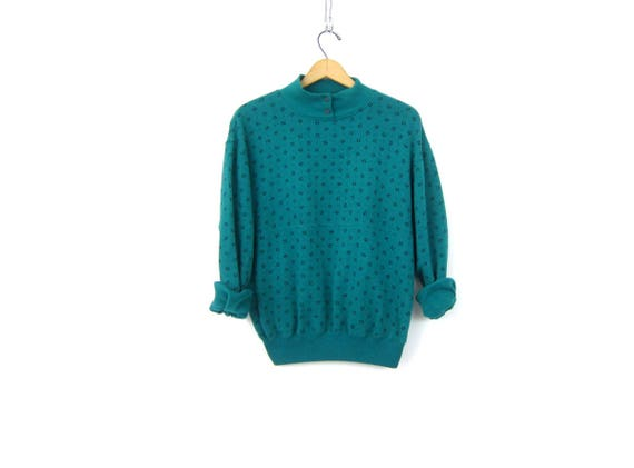 Turquoise Green sweatshirt 1980s Tiny Flower Print sweater Basic Casual Button Neck Sweater Sports Sporty Top Women's Medium