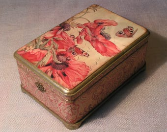 Poppies *Jewelry box*wedding ring box* casket for jewelry* casket * casket for values*casket for rings* casket for earrings*vintage box*