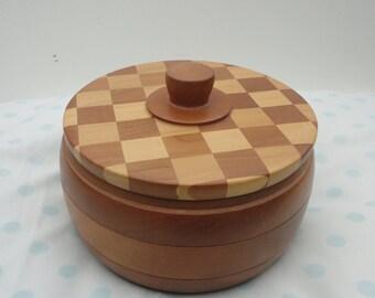 Vintage Hand Made Round Lidded Rustic Wooden Powder Jar