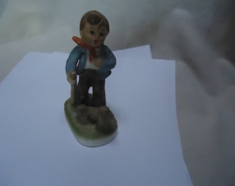 Vintage Chadwick Alpine Boy Hiking Figurine, Japan, collectable