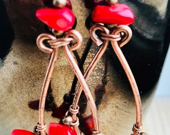Coral and copper earrings