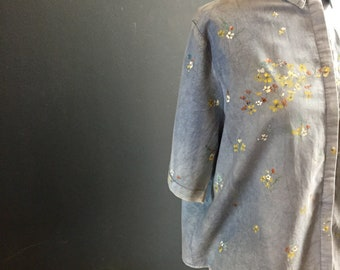 Handpainted womens blouse certified organic cotton dyed in indigo, yellow white orange blue wild flowers. One of a kind art you can wear.