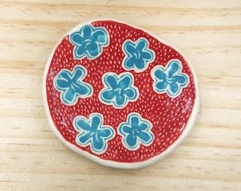 Ceramic Handmade Porcelain Flower Trinket Dish Red Blue White Ceramic Gift Handmade Pottery