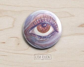 Purple Eye Badge - Illustration Pinback Button