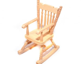 Dollhouse Miniature Unfinished Rocking Chair 1:12 Scale Furniture