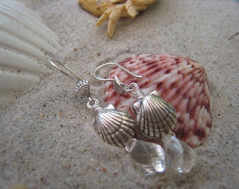 Sterling Silver Seashell and Rock Quartz Briolette Earrings