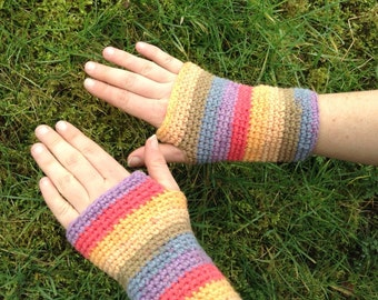 Rainbow warrior arm warmers, wrist gloves, smartphone gloves, woodland pixie gloves.