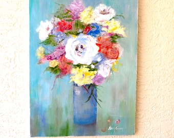 "Floral still life oil painting original by Nancy Casey.  18x24""  unframed"