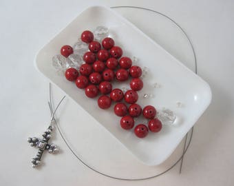 DIY Prayer Bead Kit - Red Riverstone and Clear Fire-Polished Glass