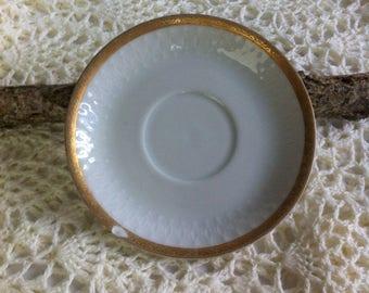 Vintage Saucer plate/ Ateliers de la Cigogne Saucer plate no. 16 / gold 14kt plate / antique plate / cottage chic plate/ Tea Party plate