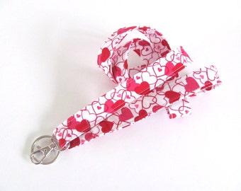 Hearts Lanyard Red White Fabric Id Badge Lanyard Key Holder Valentine's Day Teacher Lanyard
