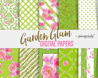 Floral Digital Paper: Watercolor Flowers-Green Chartreuse Fuchsia Pink-Scrapbook, Stickers, Invitations, Backgrounds