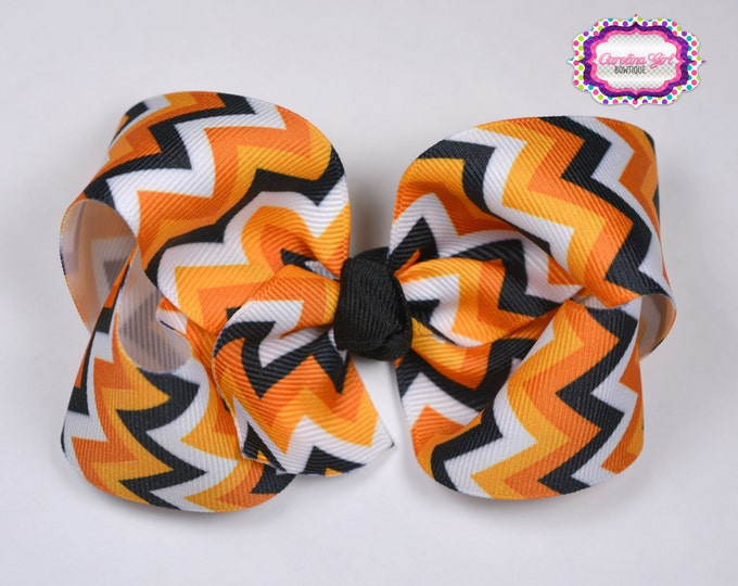 Halloween Chevron Boutique Hair Bow ~ 4 in. Bow ~Big Hair Bows ~  Girl Hair Bows ~ Black and Orange Hair Bow ~ Halloween Bow