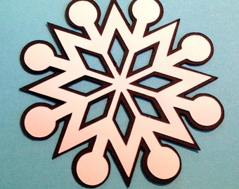 12 Snowflakes 3 inch die cuts layered in black and white