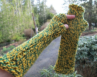 Oregon Duck Fingerless Gloves Knitted by SuzannesStitches, Yellow and Green Arm Warmers, Knitted Fingerless Gloves, Sport Fingerless Gloves
