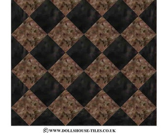 Dollhouse flooring and tiles. SF4 M2/M5  MARLIKE floor pack, one inch square tiles plus triangles