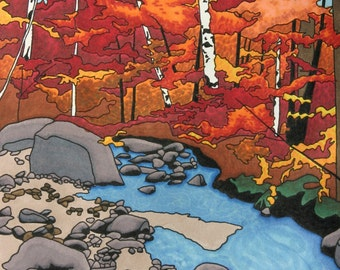 Autumn Forest Art Print, Illustration Woodland Orange Red Landscape Fall Color Fall Decor Wall Art Home Decor