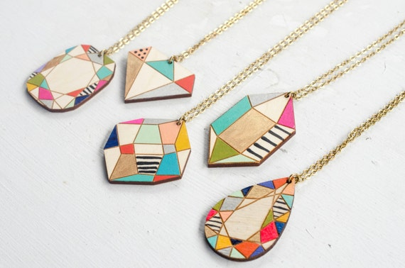 Handpainted wooden gem pendants gift for her handpainted mozeypictures Choice Image