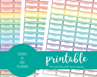 RAINBOW Workout Stickers, Printable Workout Stickers, Blank Workout Stickers, Printable Planner Stickers, ECLP, MAMBI, Work Out