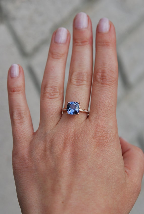 tanzanite ring rose gold engagement ring lavender blue tanzanite cushion cut engagement ring 14k rose gold ring by eidelprecious - Tanzanite Wedding Rings