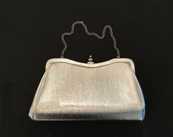 Silver Metallic Textured Faux Leather Handbag  with Fold in Handle - Vintage