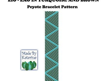 Peyote Pattern - Zig-Zag in Turquoise and Brown - INSTANT DOWNLOAD PDF - Peyote Stitch Bracelet Pattern - One Drop Even Peyote Pattern