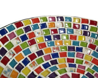 Ceramic Serving Bowl - Large Serving Bowl with Rainbow Squares