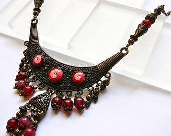 Red ethnic necklace, polymer clay, brass and agate for woman, handmade