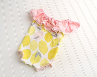 Pink Lemon Squeeze - off the shoulder romper in a fun lemon print in yellow, pink, white and grey with adorable lace trim (RTS)