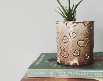 White heart planter succulent planter - ceramic planter pot white and brown heart pattern - handmade rustic modern ceramics and pottery