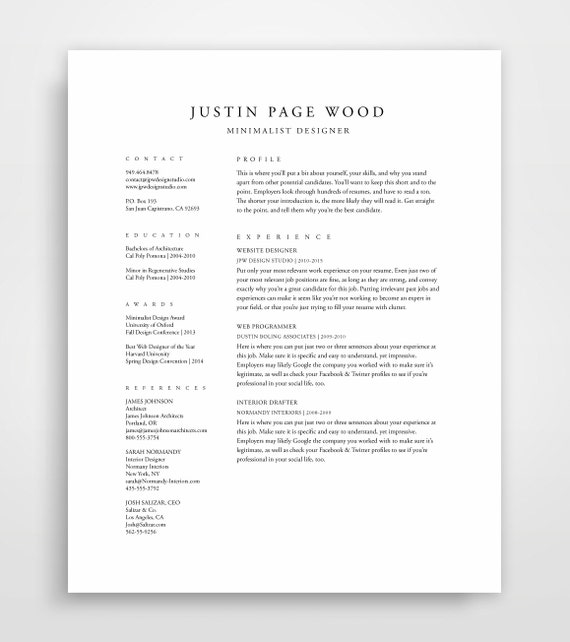 Traditional Resume Template, Elegant Resume, Classic Resume, Traditional  Resume, Professional Template, Clean Resume Design, Elegant Resume