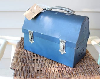 Antique Domed Metal Blue Lunchbox - Collectible