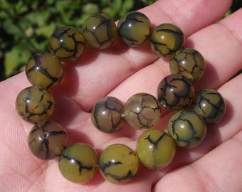 4 BEADS DRAGON VEINS AGATE 10MM.