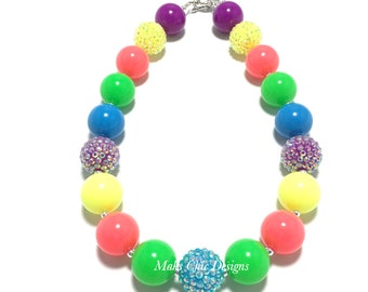 Toddler or Girls Neon Chunky Necklace - Neon Blue, Pink, Green, Yellow and Purple Necklace - Tropical Chunky Necklace - Fluorescent Necklace