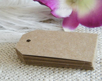 Gift Tags / Price tags / SMALL Hang Tags / 150 Blank -Kraft Cardstock DIY Gift Tags-Embellishments-Die Cut Style PT-1